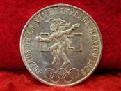 1968 Mexico Olympics 25 Pesos .720 Silver Coin